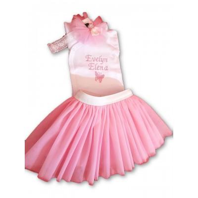 Set tinuta Botez fetita - TUTU pink