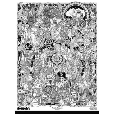 Set postere de colorat + 12 markere duble Pirati