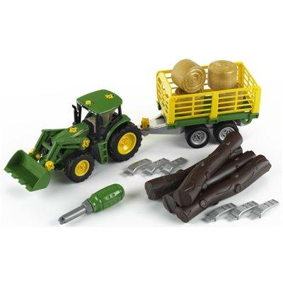 Tractor John Deere cu remorca pentru lemne