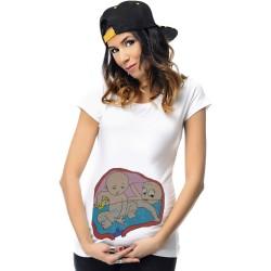 Tricou pictat gravide - Gemeni diferiti