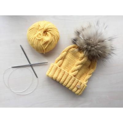 Caciula Yellow Merinos - mot blana naturala raton