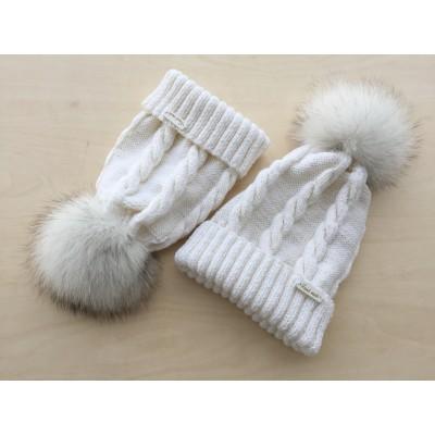 Caciula White&Colors Merinos - Mot blana naturala vulpe