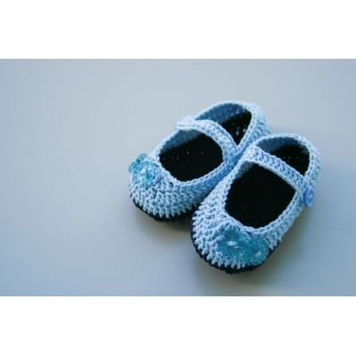 Botosei crosetati bleu - Bumbac